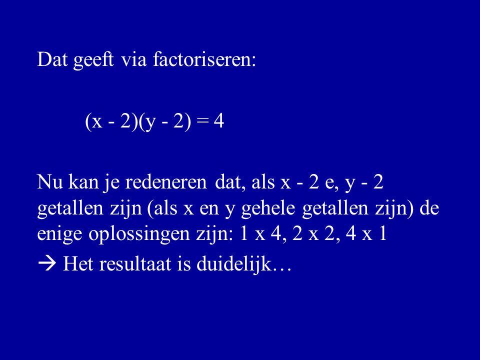 Dat geeft via factoriseren: (x - 2)(y - 2) = 4 Nu kan je redeneren dat, als x - 2 e, y - 2 getallen zijn (als x en y gehele getallen zijn) de enige op