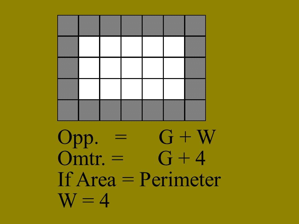 Opp. = G + W Omtr. = G + 4 If Area = Perimeter W = 4
