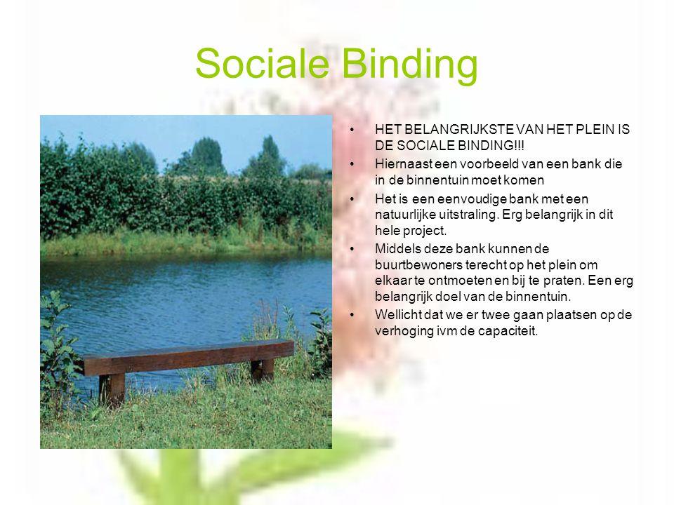 Sociale Binding HET BELANGRIJKSTE VAN HET PLEIN IS DE SOCIALE BINDING!!.