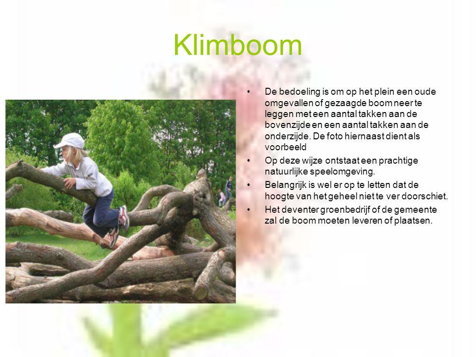 Klimboom De bedoeling is om op het plein een oude omgevallen of gezaagde boom neer te leggen met een aantal takken aan de bovenzijde en een aantal takken aan de onderzijde.
