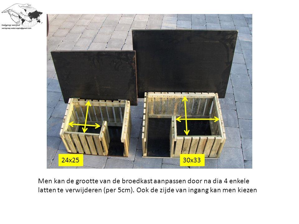 Men kan de grootte van de broedkast aanpassen door na dia 4 enkele latten te verwijderen (per 5cm).