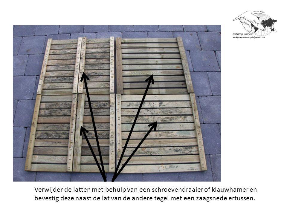 Tip: Om het nestmateriaal beter samen te houden en zo te beletten dat de eieren eruit rollen kan men de inkom verhogen met een steen of een plank.