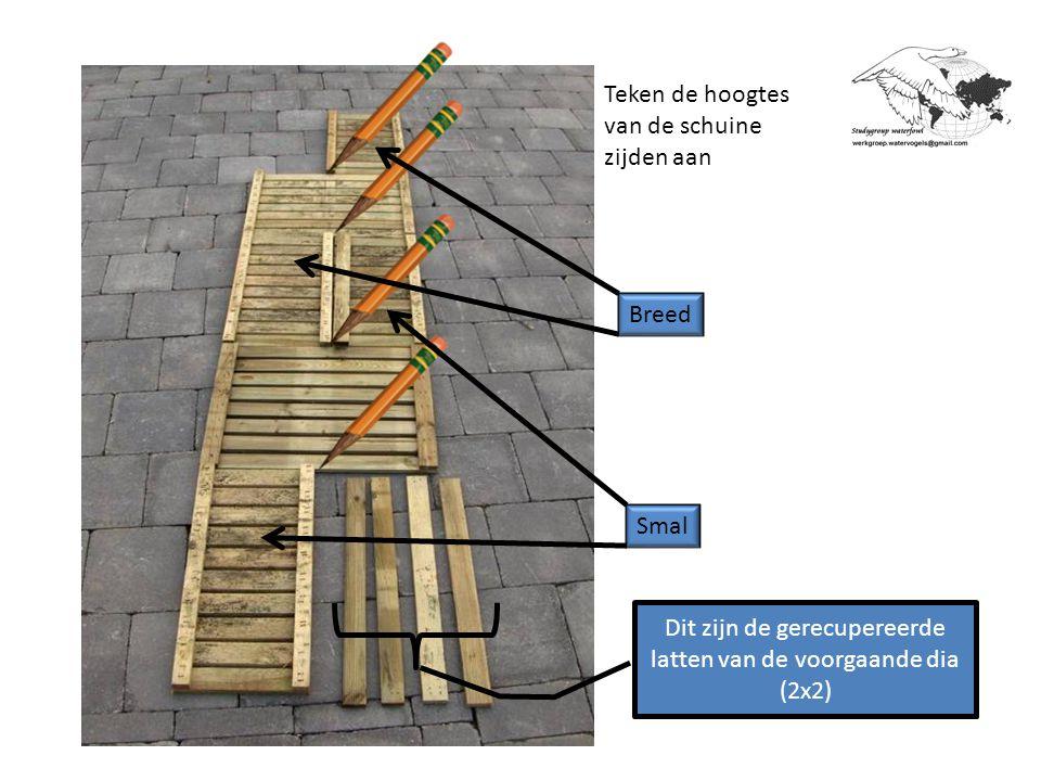 Dit zijn dan de aangetekende zaagsneden Opgelet: Deze mogen niet in dezelfde richting lopen Aan beide zijden van deze lijn dient men, met een zaagsnede ertussen, de losse latten te schroeven