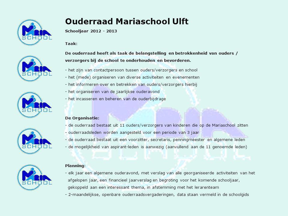 Ouderraad Mariaschool Ulft Schooljaar 2012 - 2013 Taak: De ouderraad heeft als taak de belangstelling en betrokkenheid van ouders / verzorgers bij de