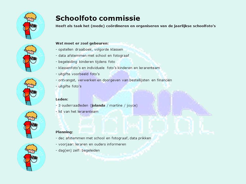 Schoolfoto commissie Heeft als taak het (mede) coördineren en organiseren van de jaarlijkse schoolfoto's Wat moet er zoal gebeuren: - opstellen draaib