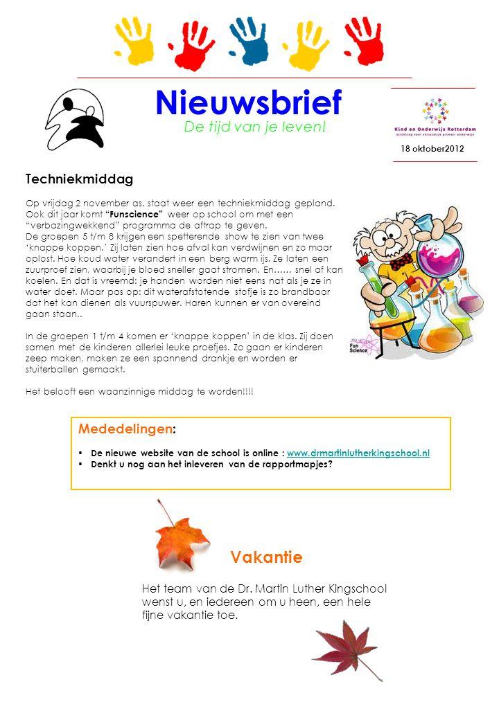 Nieuwsbrief 18 oktober2012 De tijd van je leven.