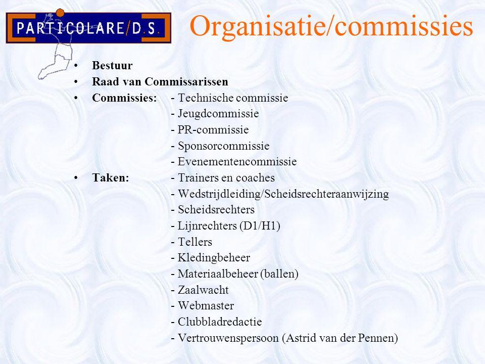 Organisatie/commissies Bestuur Raad van Commissarissen Commissies:- Technische commissie - Jeugdcommissie - PR-commissie - Sponsorcommissie - Evenemen