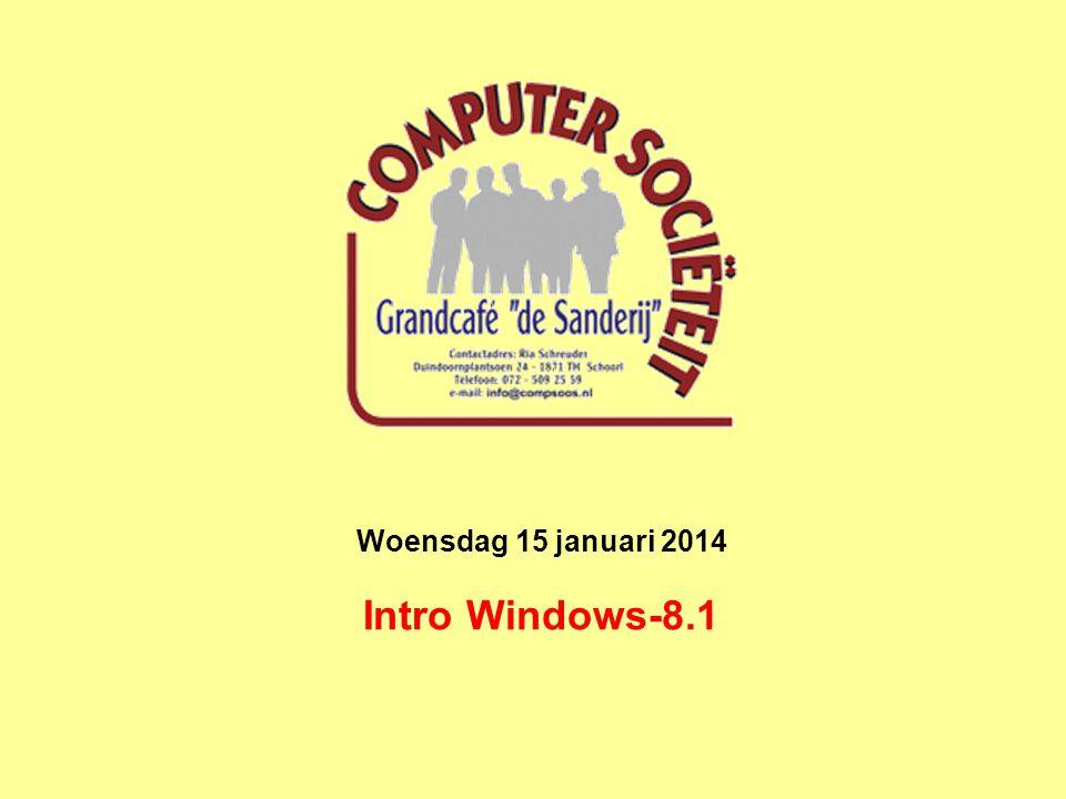 Intro Windows-8,1 Windows ontwikkelingslijn Windows-95Windows-98Windows-2000Windows-ME Windows-XPWindows-VistaWindows-7 Windows-8.1
