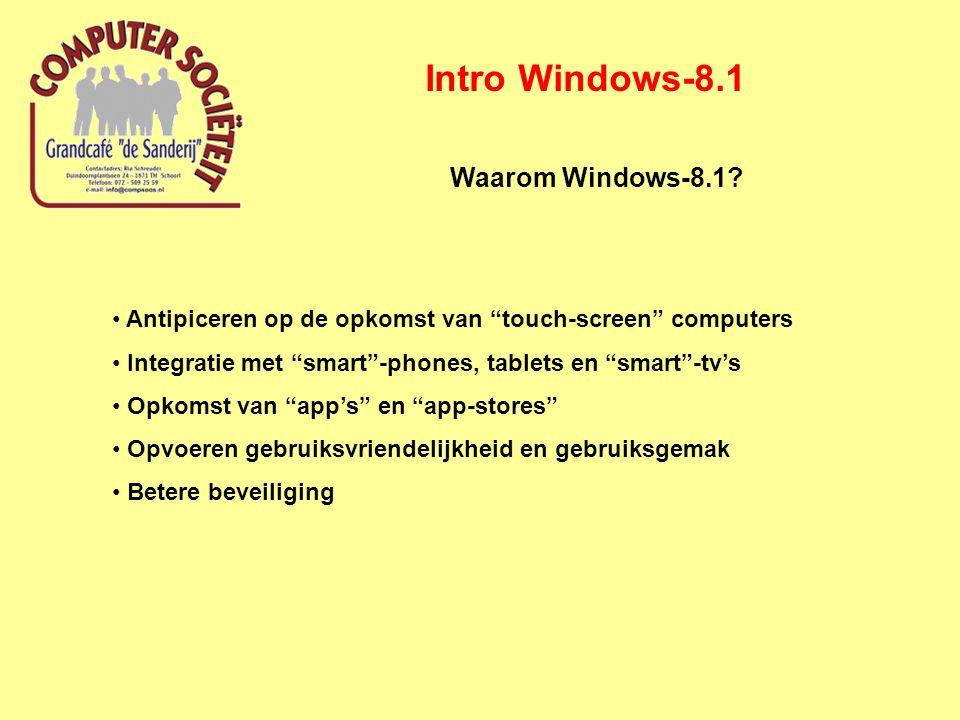 Intro Windows-8.1 Belangrijkste kenmerken Windows-8.1 Modern UI (Metro)-interface (tegels) gericht op opstarten van App's Gemeenschappelijke interface met Windows-mobile voor mobiele apparatuur (smart-phone, tablet) Ook een desktop-interface (windows 8.1 lijkt op windows 7 desktop) Snelheidsverbeteringen (o.a.