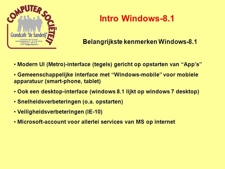 Intro Windows-8.1 Informatie over Windows-8.1 Zoek op Google onder Windows 8,1; o.a.