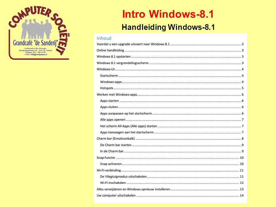 Intro Windows-8.1 Handleiding Windows-8.1 http://www.tablets magazine.nl/2012/ 10/de-complete- windows-8-gids- deel-1-wat-is- windows-8-en- hoe-werkt-het/