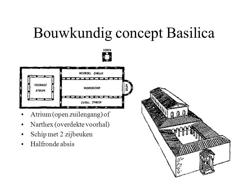 Bouwkundig concept Basilica Atrium (open zuilengang) of Narthex (overdekte voorhal) Schip met 2 zijbeuken Halfronde absis
