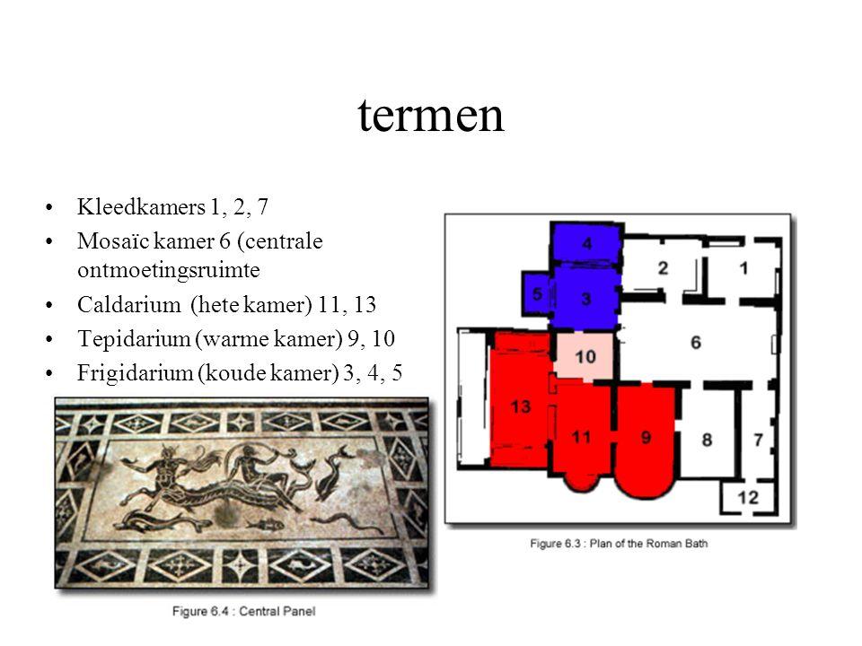 termen Kleedkamers 1, 2, 7 Mosaïc kamer 6 (centrale ontmoetingsruimte Caldarium (hete kamer) 11, 13 Tepidarium (warme kamer) 9, 10 Frigidarium (koude