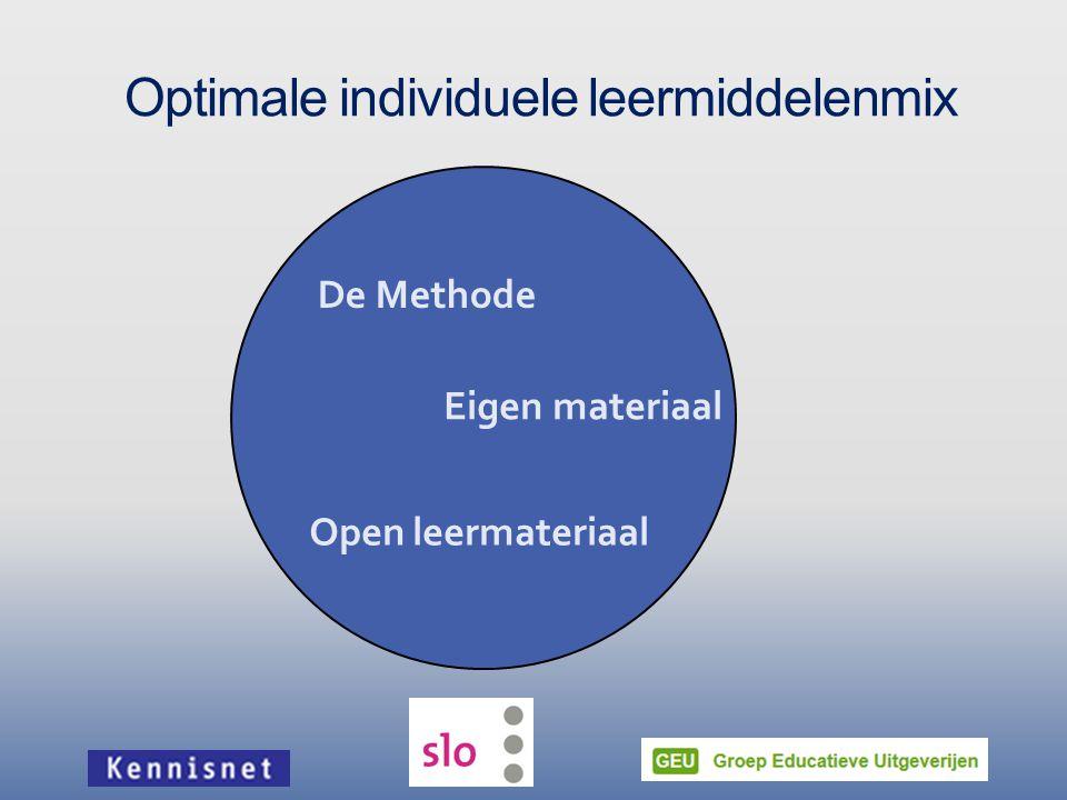 Optimale individuele leermiddelenmix Eigen materiaal Open leermateriaal De Methode