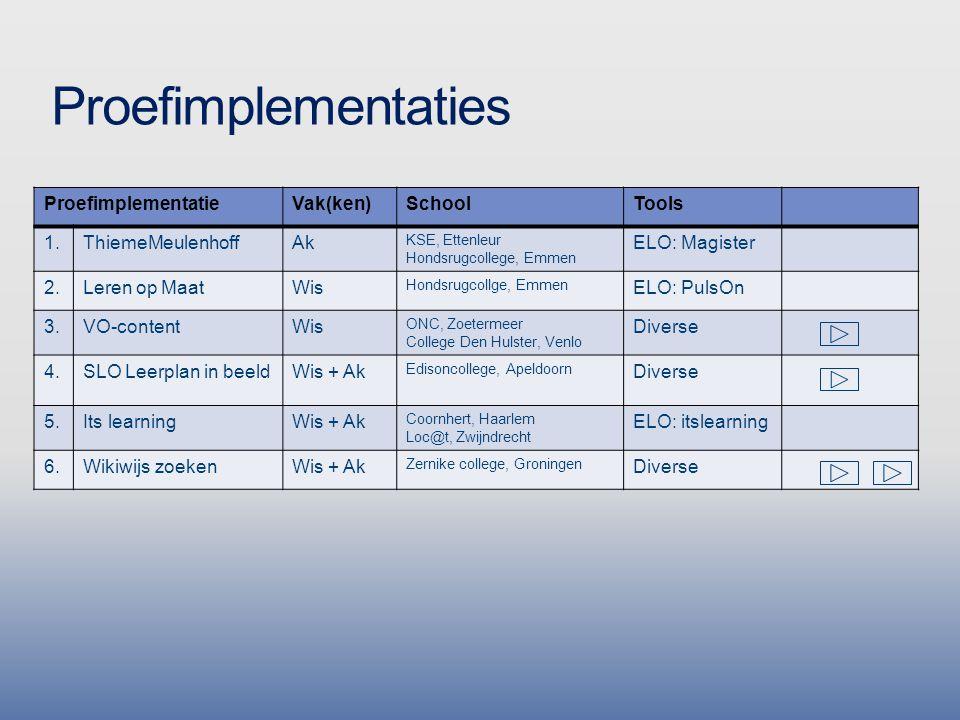 Proefimplementaties ProefimplementatieVak(ken)SchoolTools 1.ThiemeMeulenhoffAk KSE, Ettenleur Hondsrugcollege, Emmen ELO: Magister 2.Leren op MaatWis Hondsrugcollge, Emmen ELO: PulsOn 3.VO-contentWis ONC, Zoetermeer College Den Hulster, Venlo Diverse 4.SLO Leerplan in beeldWis + Ak Edisoncollege, Apeldoorn Diverse 5.Its learningWis + Ak Coornhert, Haarlem Loc@t, Zwijndrecht ELO: itslearning 6.Wikiwijs zoekenWis + Ak Zernike college, Groningen Diverse