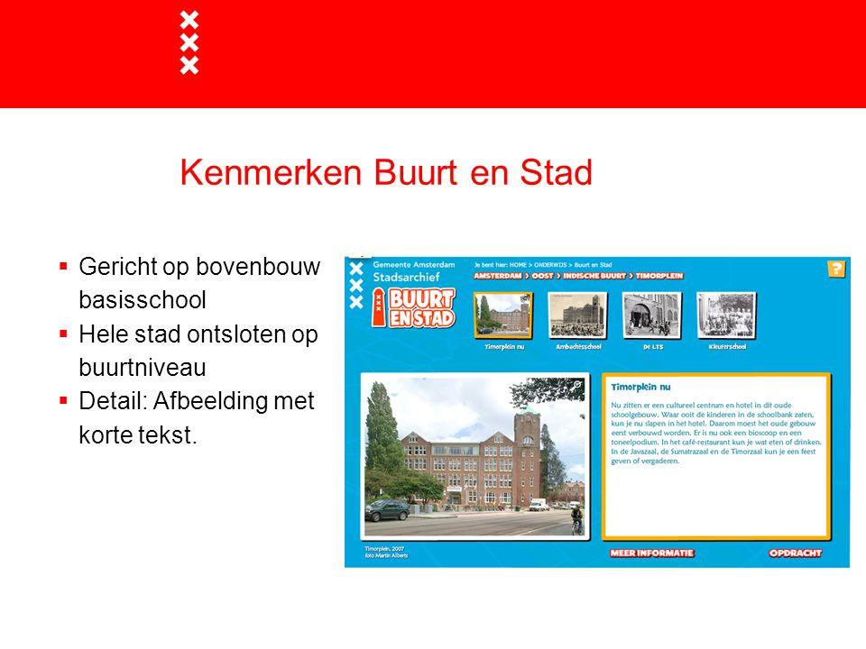 Kenmerken Buurt en Stad  Gericht op bovenbouw basisschool  Hele stad ontsloten op buurtniveau  Detail: Afbeelding met korte tekst.