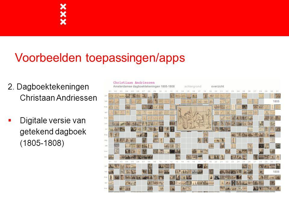 Voorbeelden toepassingen/apps 2. Dagboektekeningen Christaan Andriessen  Digitale versie van getekend dagboek (1805-1808)