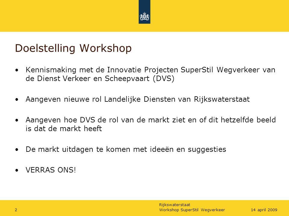 Rijkswaterstaat Workshop SuperStil Wegverkeer3314 april 2009 Marktconsultatie SSW/planning Start MARKTMIDDAG DONDERDAG 23 APRIL OM 13.30 UUR IN TULIPINN TE DELFT Fase 1: beoordelen geschiktheid producten: medio 2010 Fase 2: start najaar 2010
