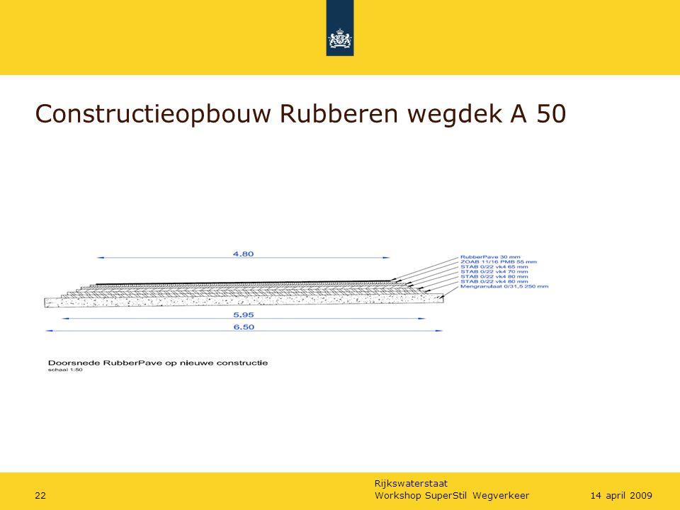 Rijkswaterstaat Workshop SuperStil Wegverkeer2214 april 2009 Constructieopbouw Rubberen wegdek A 50