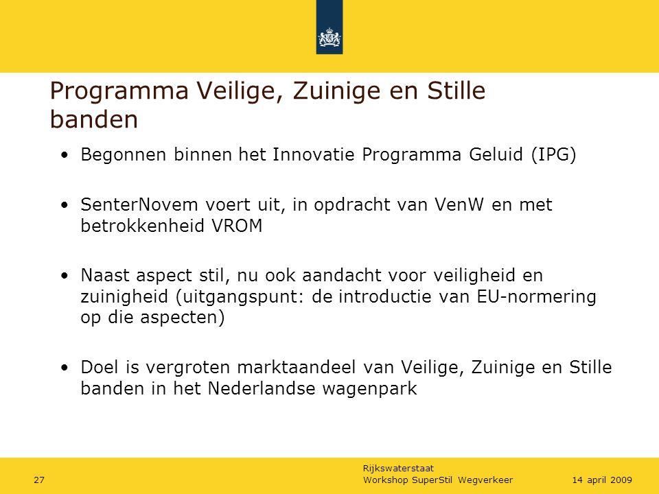 Rijkswaterstaat Workshop SuperStil Wegverkeer2714 april 2009 Begonnen binnen het Innovatie Programma Geluid (IPG) SenterNovem voert uit, in opdracht van VenW en met betrokkenheid VROM Naast aspect stil, nu ook aandacht voor veiligheid en zuinigheid (uitgangspunt: de introductie van EU-normering op die aspecten) Doel is vergroten marktaandeel van Veilige, Zuinige en Stille banden in het Nederlandse wagenpark Programma Veilige, Zuinige en Stille banden