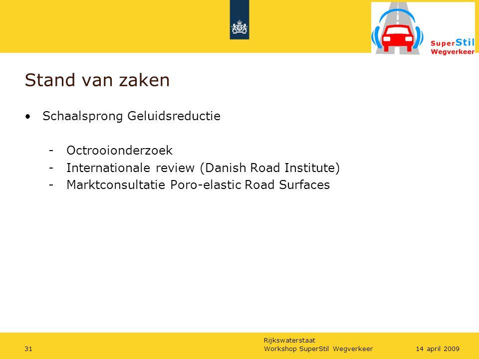 Rijkswaterstaat Workshop SuperStil Wegverkeer3114 april 2009 Stand van zaken Schaalsprong Geluidsreductie - Octrooionderzoek - Internationale review (