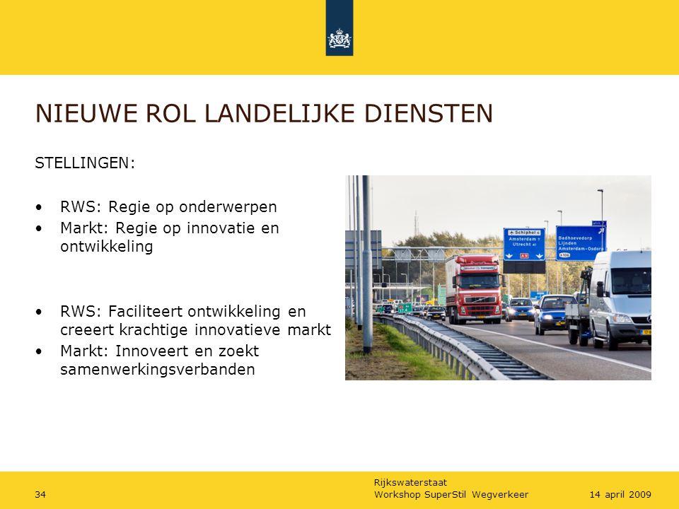 Rijkswaterstaat Workshop SuperStil Wegverkeer3414 april 2009 NIEUWE ROL LANDELIJKE DIENSTEN STELLINGEN: RWS: Regie op onderwerpen Markt: Regie op inno