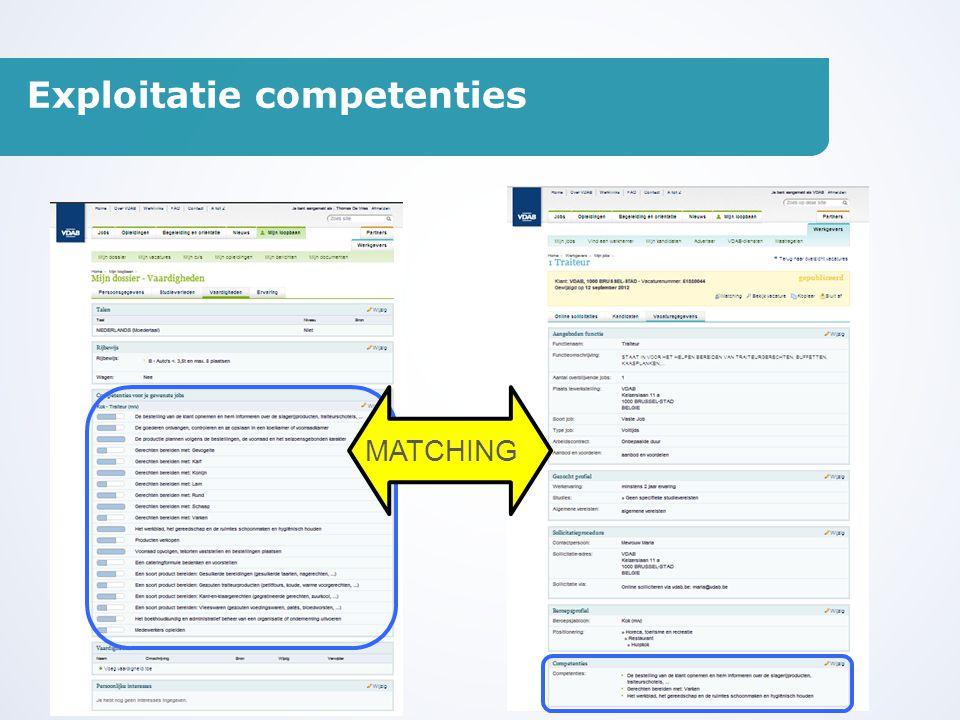 Exploitatie competenties MATCHING