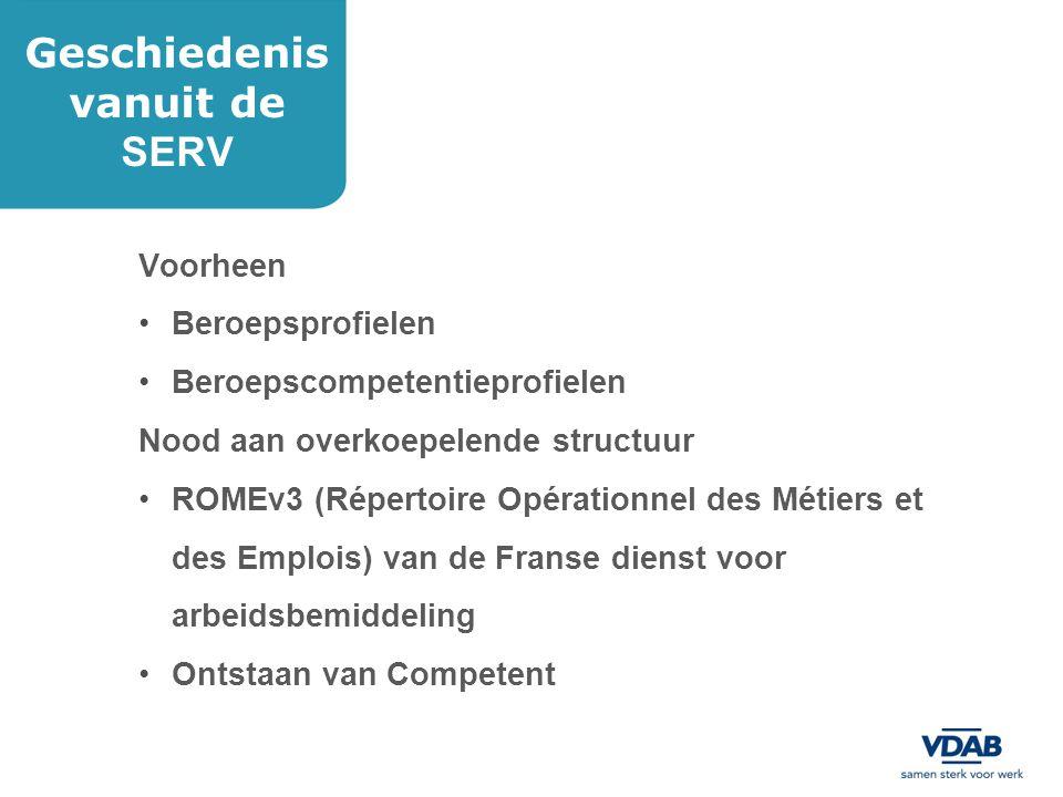Een beroependatabank Geordend in domeinen en subdomeinen Met gevalideerde fiches van beroepen(clusters) Bruikbaar voor VDAB Bruikbaar voor onderwijs (o.a.