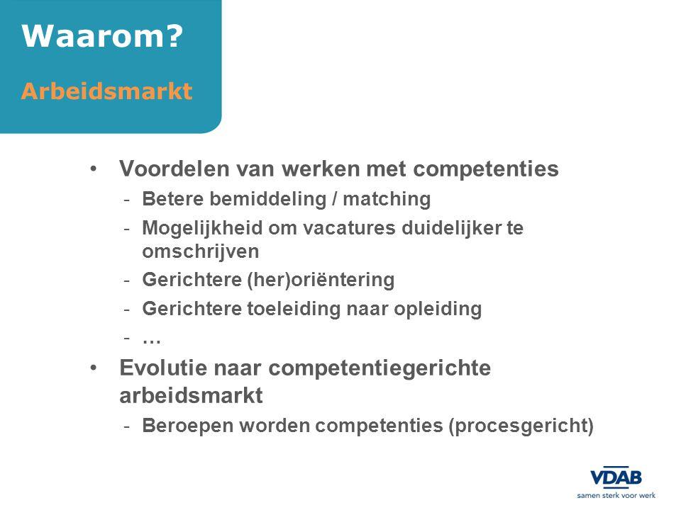 Voordelen van werken met competenties -Betere bemiddeling / matching -Mogelijkheid om vacatures duidelijker te omschrijven -Gerichtere (her)oriënterin