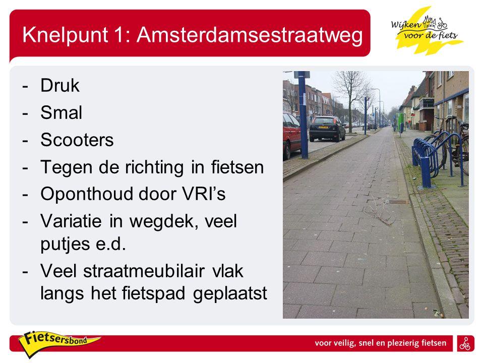 Knelpunt 1: Amsterdamsestraatweg -Druk -Smal -Scooters -Tegen de richting in fietsen -Oponthoud door VRI's -Variatie in wegdek, veel putjes e.d. -Veel