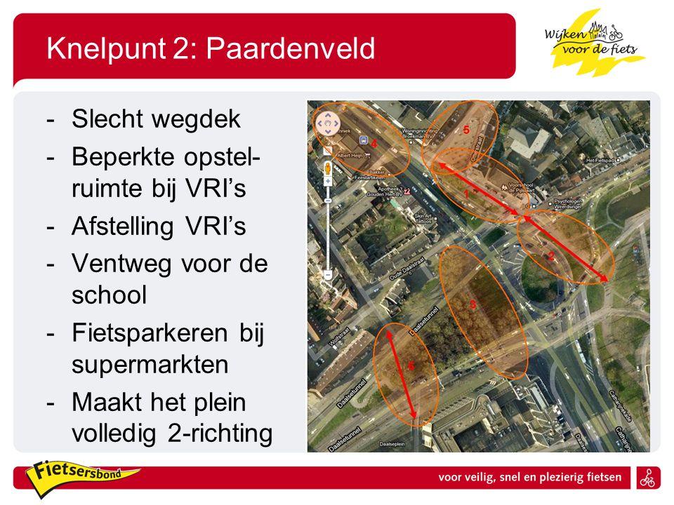 Knelpunt 2: Paardenveld -Slecht wegdek -Beperkte opstel- ruimte bij VRI's -Afstelling VRI's -Ventweg voor de school -Fietsparkeren bij supermarkten -Maakt het plein volledig 2-richting
