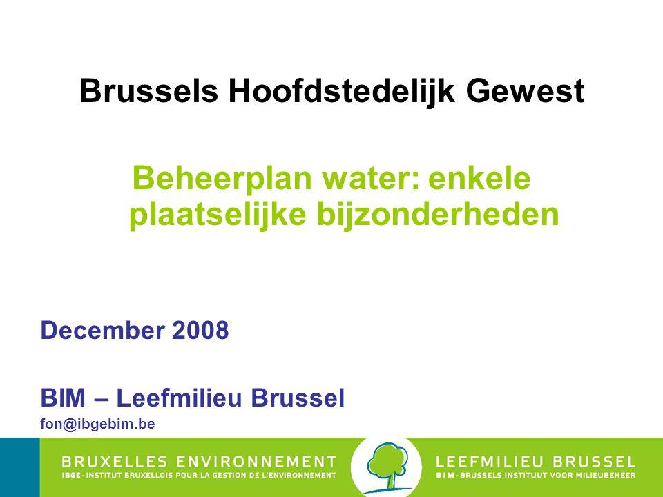 Brussels Hoofdstedelijk Gewest Beheerplan water: enkele plaatselijke bijzonderheden December 2008 BIM – Leefmilieu Brussel fon@ibgebim.be