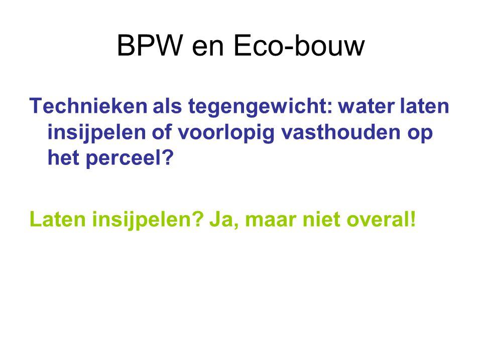 BPW en Eco-bouw Technieken als tegengewicht: water laten insijpelen of voorlopig vasthouden op het perceel.