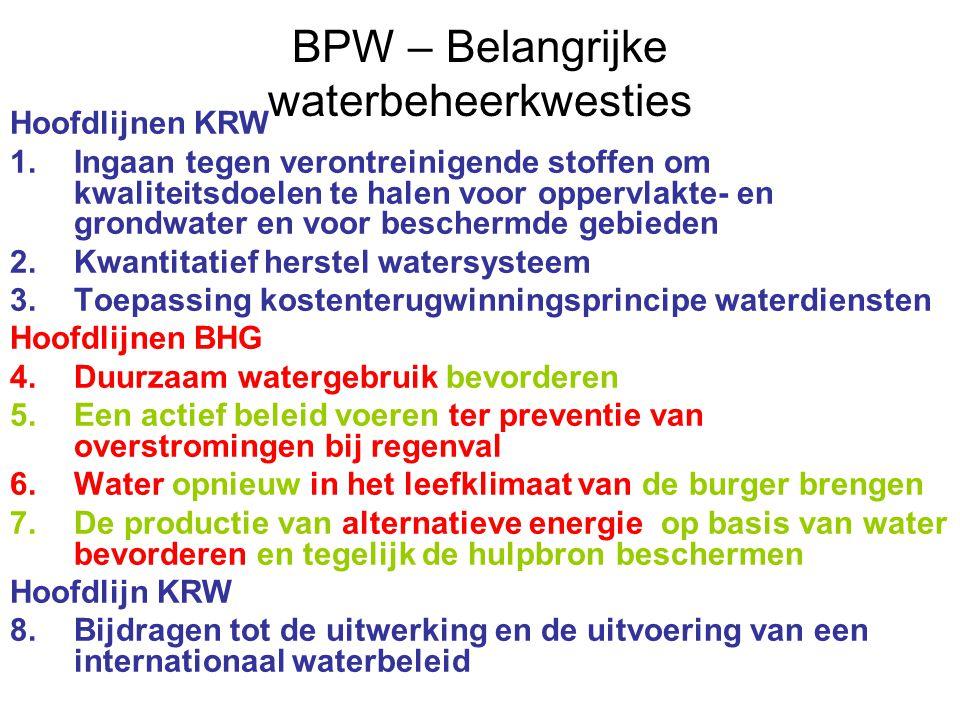 BPW – Belangrijke waterbeheerkwesties Hoofdlijnen KRW 1.Ingaan tegen verontreinigende stoffen om kwaliteitsdoelen te halen voor oppervlakte- en grondwater en voor beschermde gebieden 2.Kwantitatief herstel watersysteem 3.Toepassing kostenterugwinningsprincipe waterdiensten Hoofdlijnen BHG 4.Duurzaam watergebruik bevorderen 5.Een actief beleid voeren ter preventie van overstromingen bij regenval 6.Water opnieuw in het leefklimaat van de burger brengen 7.De productie van alternatieve energie op basis van water bevorderen en tegelijk de hulpbron beschermen Hoofdlijn KRW 8.Bijdragen tot de uitwerking en de uitvoering van een internationaal waterbeleid