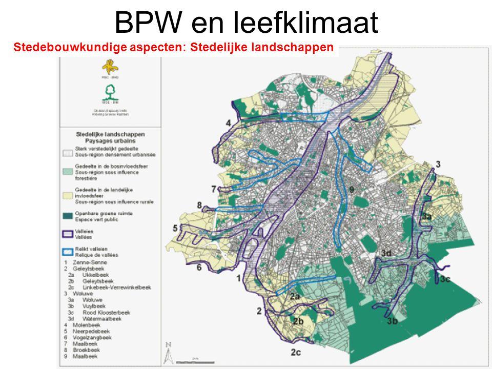 BPW en leefklimaat Stedebouwkundige aspecten: Stedelijke landschappen