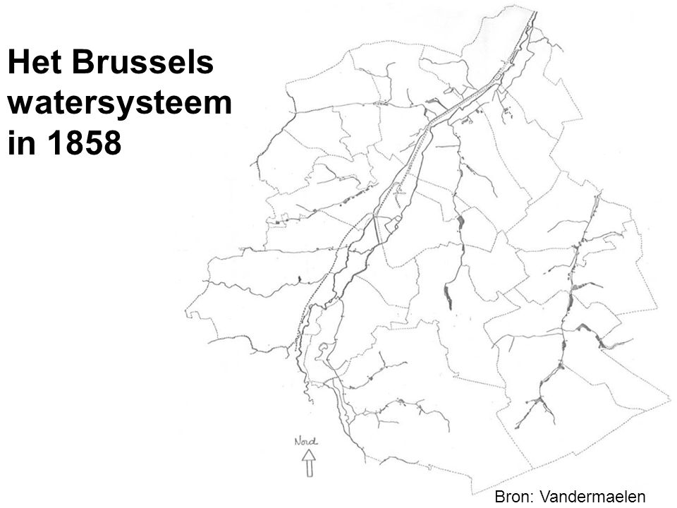 Het Brussels watersysteem in 1993 Bron: IGN