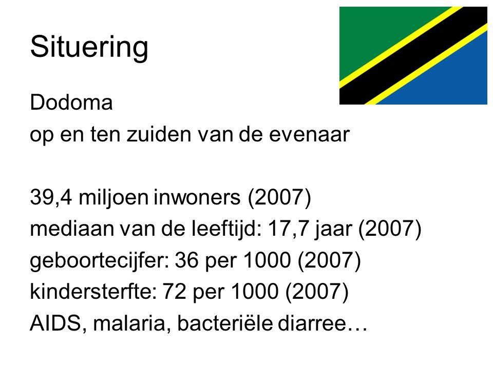 Situering Dodoma op en ten zuiden van de evenaar 39,4 miljoen inwoners (2007) mediaan van de leeftijd: 17,7 jaar (2007) geboortecijfer: 36 per 1000 (2007) kindersterfte: 72 per 1000 (2007) AIDS, malaria, bacteriële diarree…