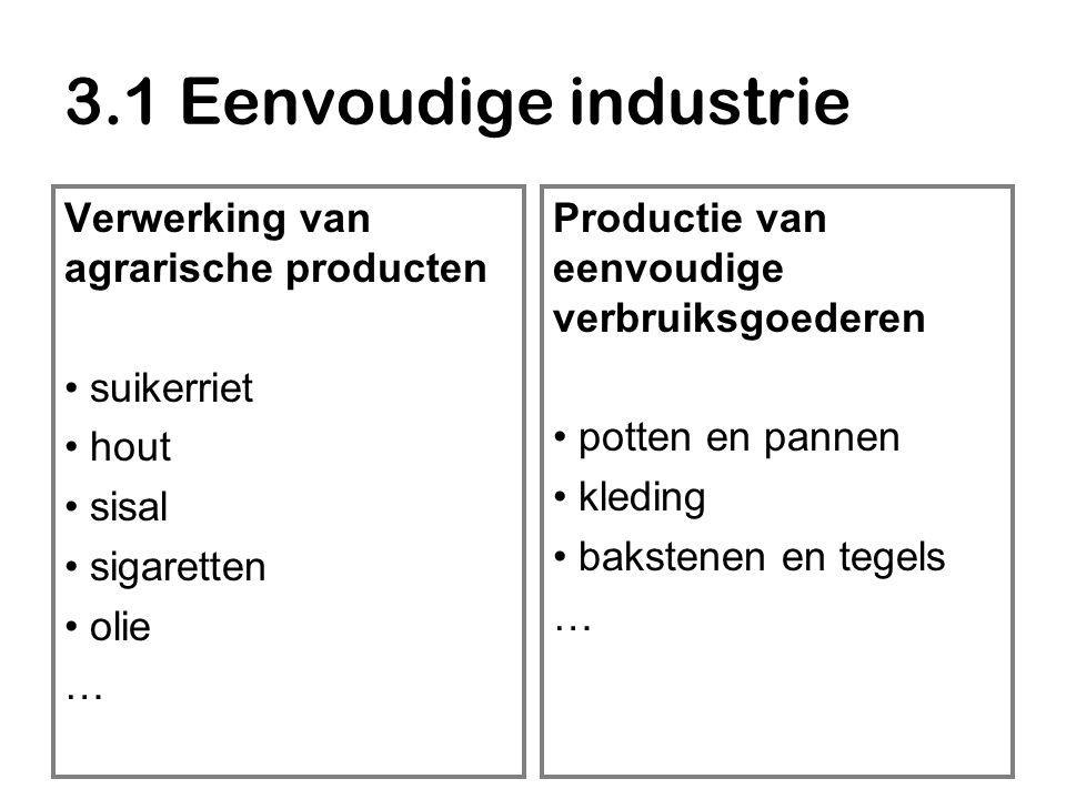 3.1 Eenvoudige industrie Verwerking van agrarische producten suikerriet hout sisal sigaretten olie … Productie van eenvoudige verbruiksgoederen potten en pannen kleding bakstenen en tegels …