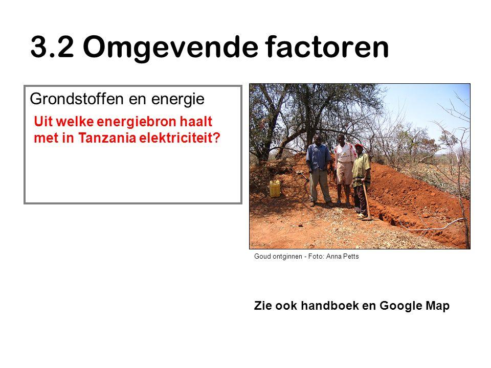 3.2 Omgevende factoren Grondstoffen en energie Goud ontginnen - Foto: Anna Petts Zie ook handboek en Google Map Uit welke energiebron haalt met in Tanzania elektriciteit?
