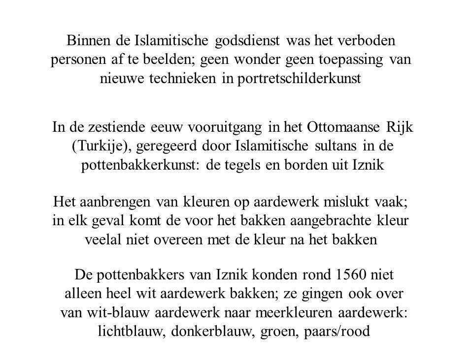 Binnen de Islamitische godsdienst was het verboden personen af te beelden; geen wonder geen toepassing van nieuwe technieken in portretschilderkunst I