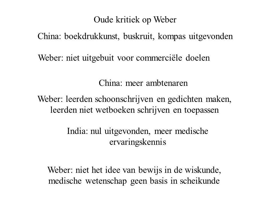 Oude kritiek op Weber China: boekdrukkunst, buskruit, kompas uitgevonden Weber: niet uitgebuit voor commerciële doelen India: nul uitgevonden, meer me
