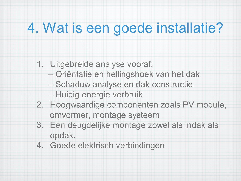 4. Wat is een goede installatie? 1.Uitgebreide analyse vooraf: – Oriëntatie en hellingshoek van het dak – Schaduw analyse en dak constructie – Huidig