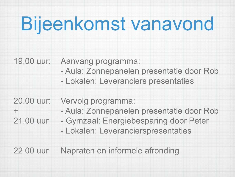 Bijeenkomst vanavond 19.00 uur:Aanvang programma: - Aula: Zonnepanelen presentatie door Rob - Lokalen: Leveranciers presentaties 20.00 uur:Vervolg pro