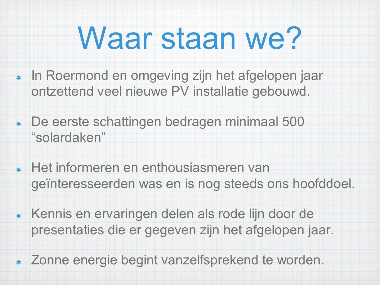 Waar staan we? In Roermond en omgeving zijn het afgelopen jaar ontzettend veel nieuwe PV installatie gebouwd. De eerste schattingen bedragen minimaal