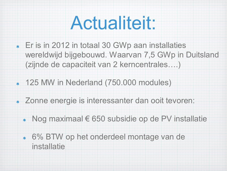 Actualiteit: Er is in 2012 in totaal 30 GWp aan installaties wereldwijd bijgebouwd. Waarvan 7,5 GWp in Duitsland (zijnde de capaciteit van 2 kerncentr