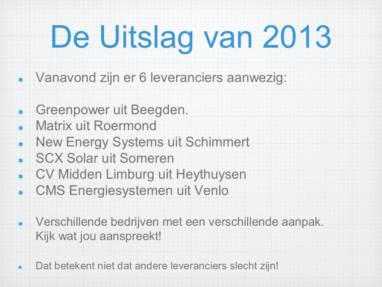 De Uitslag van 2013 Vanavond zijn er 6 leveranciers aanwezig: Greenpower uit Beegden. Matrix uit Roermond New Energy Systems uit Schimmert SCX Solar u