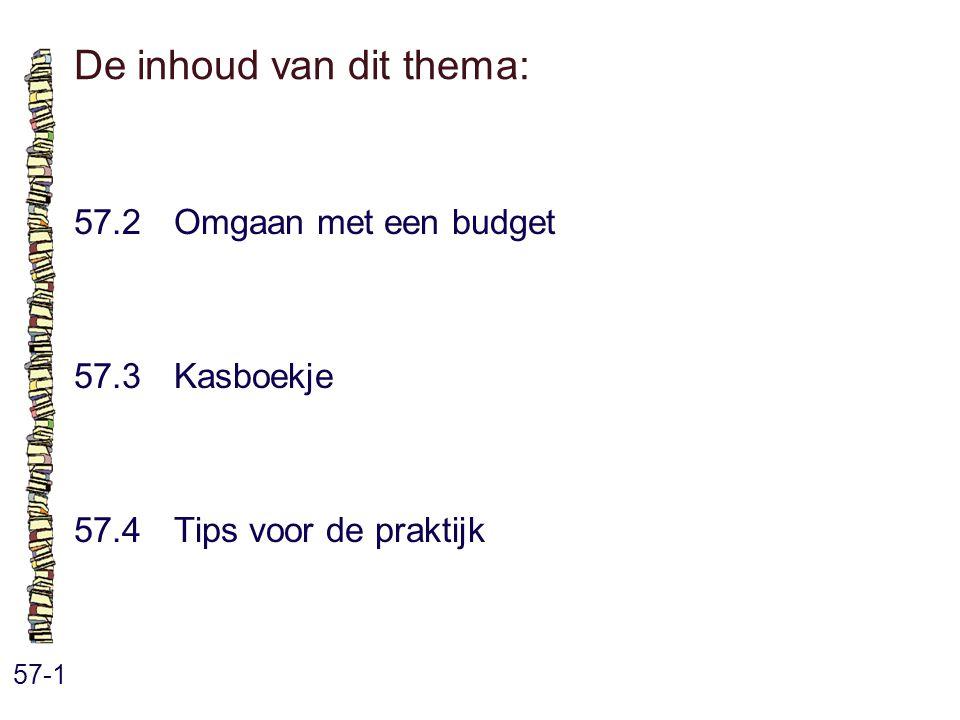 De inhoud van dit thema: 57-1 57.2 Omgaan met een budget 57.3 Kasboekje 57.4 Tips voor de praktijk