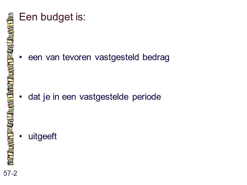 Een budget is: 57-2 een van tevoren vastgesteld bedrag dat je in een vastgestelde periode uitgeeft