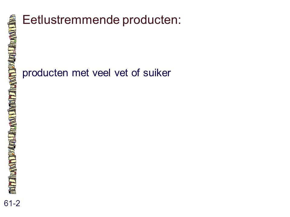 Eetlustremmende producten: 61-2 producten met veel vet of suiker