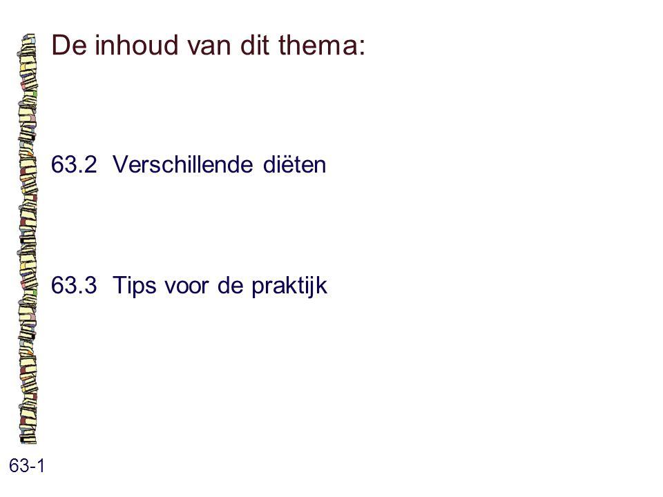 De inhoud van dit thema: 63-1 63.2 Verschillende diëten 63.3 Tips voor de praktijk